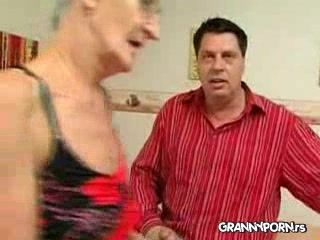 Old  Skinny Granny Gets Her Teeth Off To Suck Better and Gets Fucked