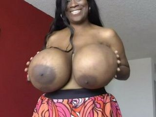 Ebony Girl Playing With Enormously Big Boobs