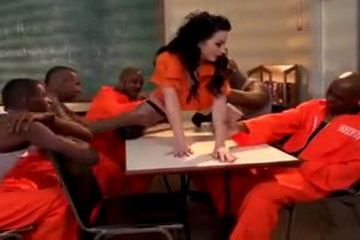 Prison Interracial Gangbang