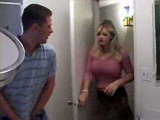 Girlfriends Mom Catches Boy Masturbating In the Bathroom