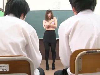 Blackmailed Teacher Yuki Touma Forced To Do Striptease Infront of Whole Class