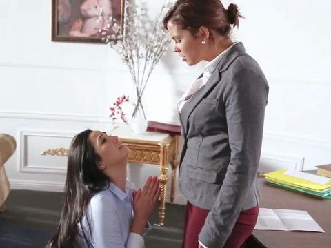 Submissive Assistant Begs Lesbo Boss Not To Be Too Harsh This Time