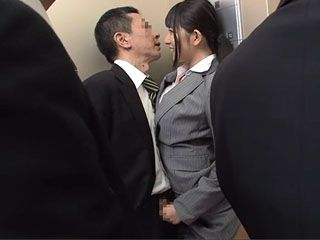 In An Elevator Full Of Peoople Japanese Secretary Ai Uehara Made Her Boss Cum