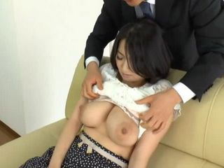 Busty Japanese Wife Gets Unespected Visit By Husbands Boss From Work