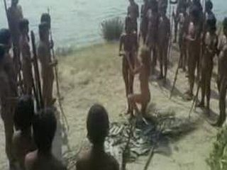 African Tribe Member Performing Weird Ritual