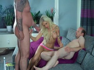 Cuckold Husband Has No Mind To Share Hot Blonde Wife With Her Lover