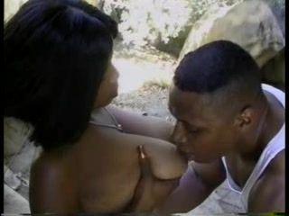 Busty Ebony Chick Fucked On The Rock