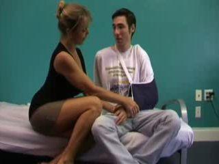 Busty Stepmom Helps Injured Boy Feel Better