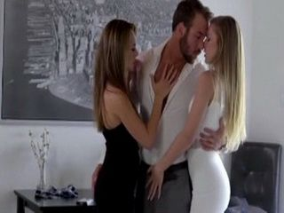 Lucky Guy Hot Threesome With His Lovely Girlfriend And Her Best Friend
