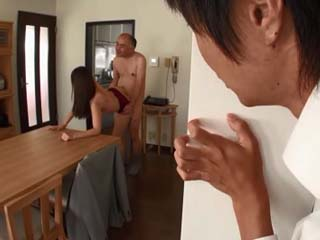 Son Busted His Old Father Banging Doggysyle New Housemaid Yui Hatano