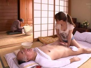 Japanese Nurse Took Advantage Of An Immobile Old Man While His Wife Was Ironing In The Next Room