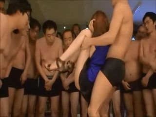 Japanese Slut Ganging And Facialized By Bunch Of Horny Men