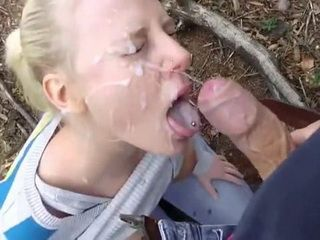 Passionate Blowjob And Facial Cumshot In The Woods