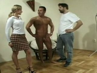 Persistent Blonde Girl Begs Two Guys To Give Her Anal Pleasure