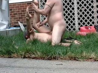 Redneck Fucks Chubby Slut In The Backyard