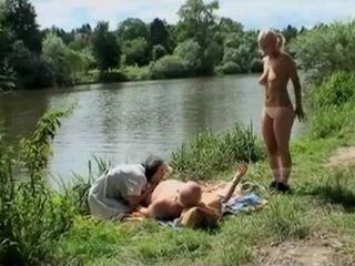 Lucky Old Grandpa Fucks Busty Granny and Teen at Picnic By The River