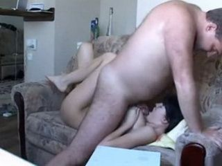 Old Fat Pervert Stepfather Fucks His Young Stepdaughter On the Couch