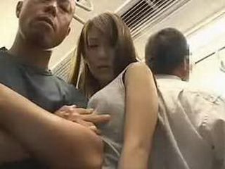 Busty Japanese Woman Molested in A Train