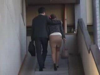 Boss Fucks His Secretary On the Stairs Before Work