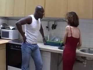 Slim Bitch Takes BBC In Both Holes In The Kitchen