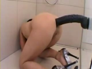 Monster Dildo Anal in Bathroom