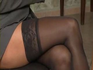 Dark Hair Milf In Stockings Gets Her Asshole Filled With Hard Stiff Cock