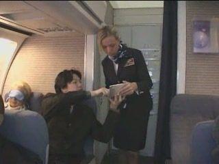 Blonde Stewardess Giving Handjob To Japanese Passenger