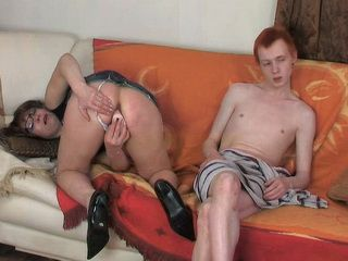 Redhead Boy Tried To Ignore Aunt Demand To Fuck Her Asshole But That Was Impossible