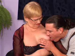 German Granny Fucked In Threesome By Handymen