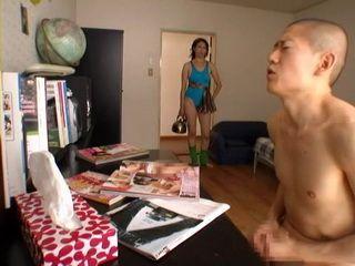 Mother Masumi Oshiro Busted Her Teenage Son Masturbating