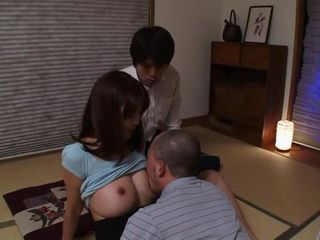 Boy Was Shocked When His Busty Girl Takaoka Violet Came On To His Dad But Eventualy Gets Fucked By Both Of Them