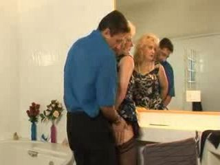 Hairy Mature Mother In Law Gets Anal Fucked In Bathroom
