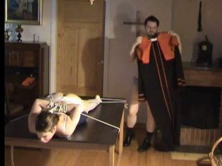 Filthy Catholic Priest Preform Some Kinky Exorcism Technique In His Chamber