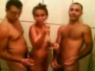 Latina Slut Shower Threesome