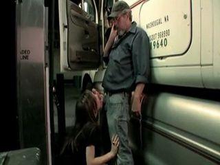 Naughty Rebel Teen Sucking Dick To Older Trucker On A Parking Lot