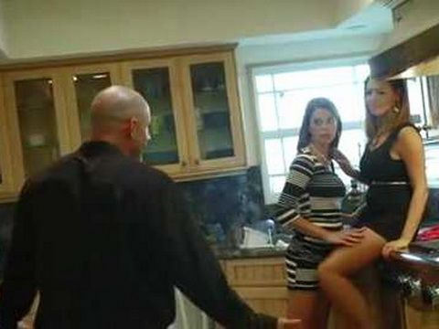 Guy Came To Neighbors Place And Busted His Stepdaughter And Her Friend In Awkward Situation in The Kitchen