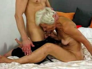 Old Woman Blowing and Fucking Hard Dick