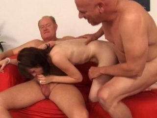 Redhead Teen Will Be Well Rewarded If She Do The Dirty Work Good With Old Two Guys