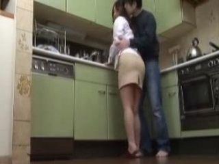 Japanese Teen Girl Catch Mom with her Boyfriend in Kitchen