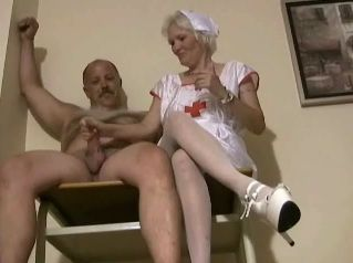 Granny Nurse In Uniform Gives CFNM Handjob To Grandpa Patient