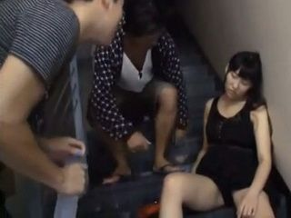 Two Guys Found Wasted Drunk Girl Sleeping On Stairways in Their Building And Didnt Miss A Chance To Fuck Her