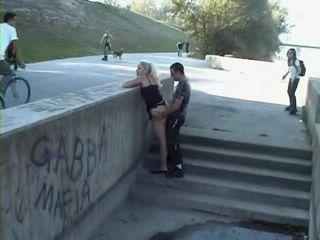 Blonde Gets Fucked In Public at Fully Crowded Place
