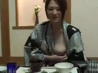 After Few Drinks Japanese Wife Starts Showing Boobs Too Her Cousin While Having Dinner With Him