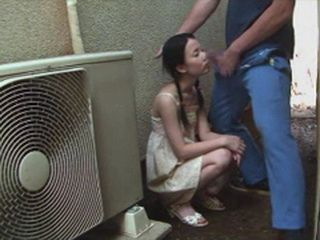 Japanese Teen Gives Head To Old Guy in the Passage and gets Messed Up facial Cumshot