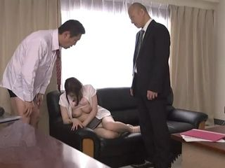 Japanese Teacher Gets Fucked In Principals Office By Him And One Of The Teachers