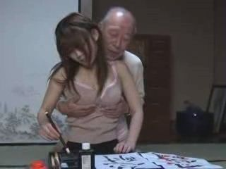 Japanese Teen Girl Giving A Grandpa Pleasure As Much As He Wants