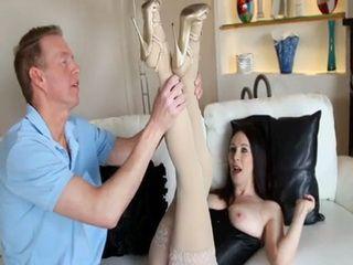 Leggy Black Hair Milf Showing To Her Hot Neighbor Her New Stockings