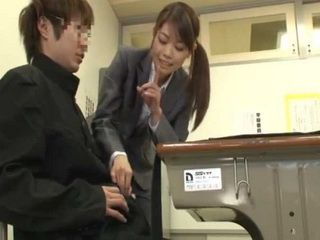Milf Teacher Gives Full Tekoki Service To Shy Nerd Student During Class And Gets Fucked