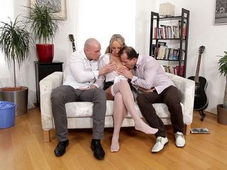 Slutty Blonde Knows How To Work With Two Big Cocks