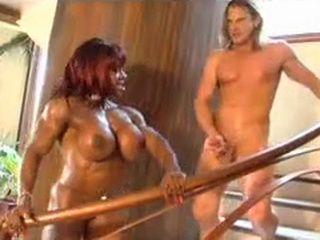 Busty Black Muscular Woman Yvette Bova Fucks White Guy